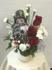 Silver Mason Jar w/ Snowman Ornament