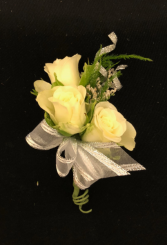 Silver Moonlight Triple Stack White Spray Rose Bouttoniere