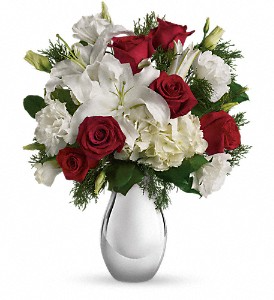 Silver Noel Bouquet                  T406-1 Winter Floral Arrangement