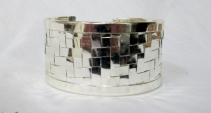 Silver Plated Cuff Bracelet - disco ball Gift Item