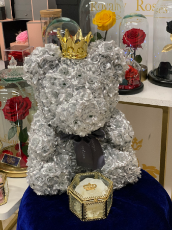 Silver Royalty Forever Rose Teddy Bear Rose Teddy Bear
