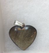 Silver Sheen Obsidian Heart Pendant Jewelry