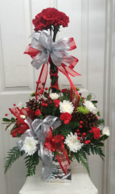 Silver Shining Topiary Winter Arrangement
