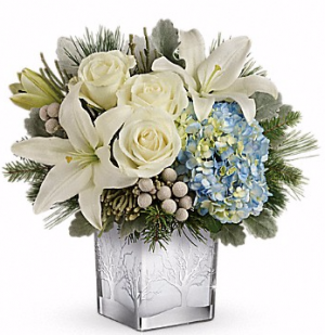 Silver Snow Christmas Cube in Sugar Land, TX | BOUQUET FLORIST