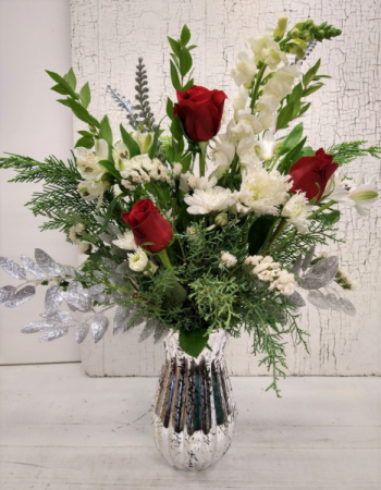 Silver Snow with Red Roses