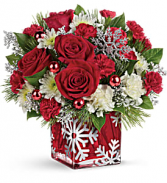 Silver Snowflake Bouquet Christmas Cube