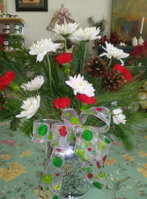 Silver snowflake jar bouquet Vase in Antigonish, NS | ELM GARDENS 1988 LTD