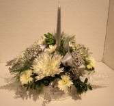 Silver Tidings Fresh flower centerpiece