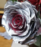 SILVER WITH SOME RED INSIDE ROSE 1 DOZEN
