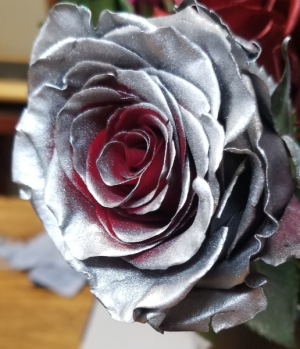 SILVER WITH SOME RED INSIDE ROSE 1 DOZEN in Fairfield, CA | TERESITA FLORAL CREATIONS