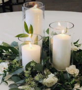 Simple Candles & Eucalyptus  Reception Flowers