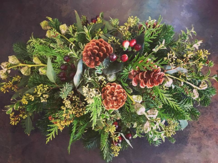 Simple Christmas Greens Centerpiece
