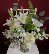 Simple elegance All white vase arrangement