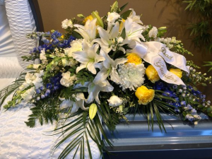 Simple love in White, Blue & Yellow Casket Spray in Appleton, WI | TWIGS & VINES FLORAL