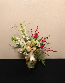 Simple Seasons Greetings Holiday Vase Arrangement