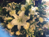 Simple Sediment Casket Spray- All White Flowers