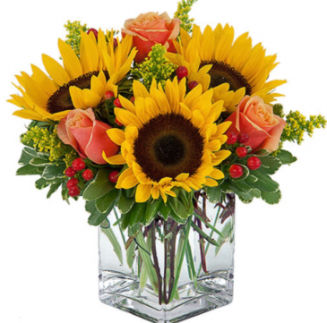 Simple Sunflowers & Roses small cube vase  Fall
