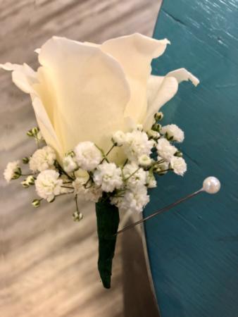 Simple White Rose  Boutonnière