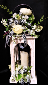 Simplicity of Black and white lantern with candle