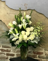Simplistic White Bouquet Vased Arrangement