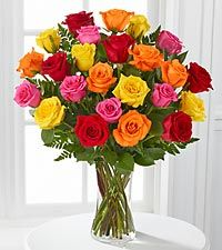 SIMPLY CHEERFUL 24 MIXED ROSES VASED