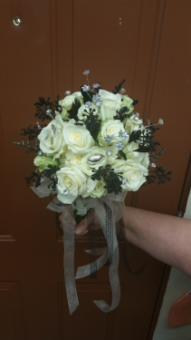 Simply Elegant White/Black Hand-tied Prom