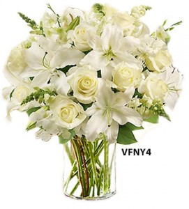 simply white floral arrangement in williston park ny