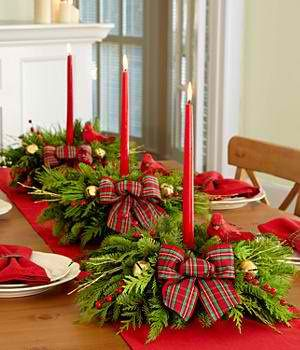 Simply Evergreen Centerpiece Fresh Evergreens with Ribbon and Candles