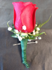 Simply Red Boutonniere