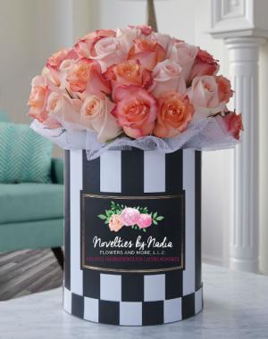 Simply Sweet in Stripes Flower Box Bouquet in Longwood, FL | Novelties By Nadia Flowers & More