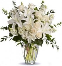 Simply White Vase Arrangement 3-Sided Vase Arrangement