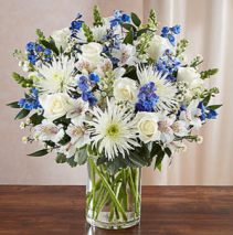 Sincerest Sorrow™ Blue & White Sympathy Arrangement