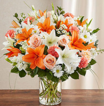 Sincerest Sorrow™ Peach, Orange & White Sympathy Arrangement