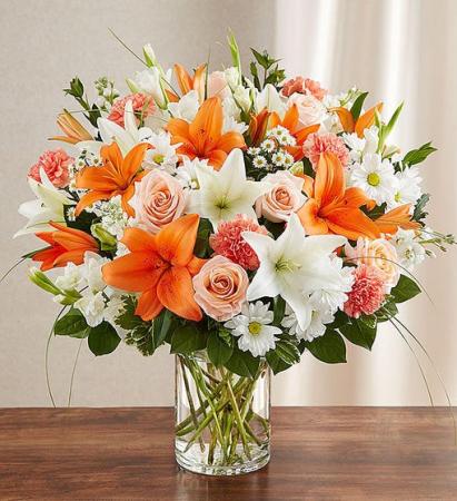 Sincerest Sorrow™ Peach, Orange & White Sympathy Flowers / All Occasions