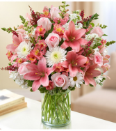 Sincerest Sorrow - Pink and White Sympathy Arrangement