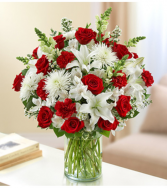 Sincerest Sorrow™ Red and White Sympathy Arrangement
