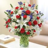 Patriotic Sincerest Sympathy Flower Delivery