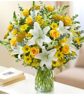 Sincerest Sorrow™ Yellow and White Sympathy Arrangement