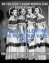 Singing Valentine with Rose Bud Vase Valentine's Day