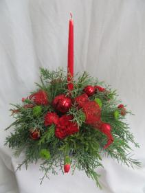 Single Candle Red Christmas Centerpiece Fresh Mixed Arrangement