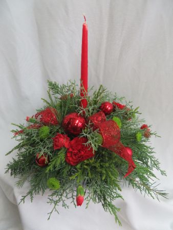 Single Candle Red Christmas Centerpiece Fresh Mixed Arrangement in ...