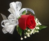 Single Red Rose Pin-On Corsage