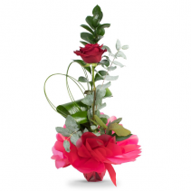 SINGLE RED ROSE  with ribbons and bows
