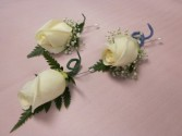 Single Rose Boutonnierre  Plain, $10, Ribbon Stem Wrap $11.50