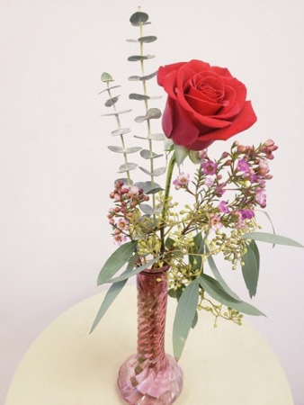 Single Rose Bud Vase Valentine's Day