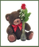 Single Rose Vase with Bear Your Choice of Color