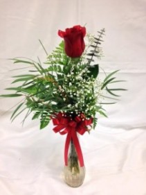 Single Rose in Vase Vase Arrangement