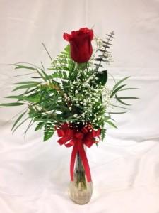 Single Rose in Vase Vase Arrangement