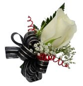 Single White Rose, Wire Boutonniere