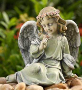 Sitting Angel with Rose Gift